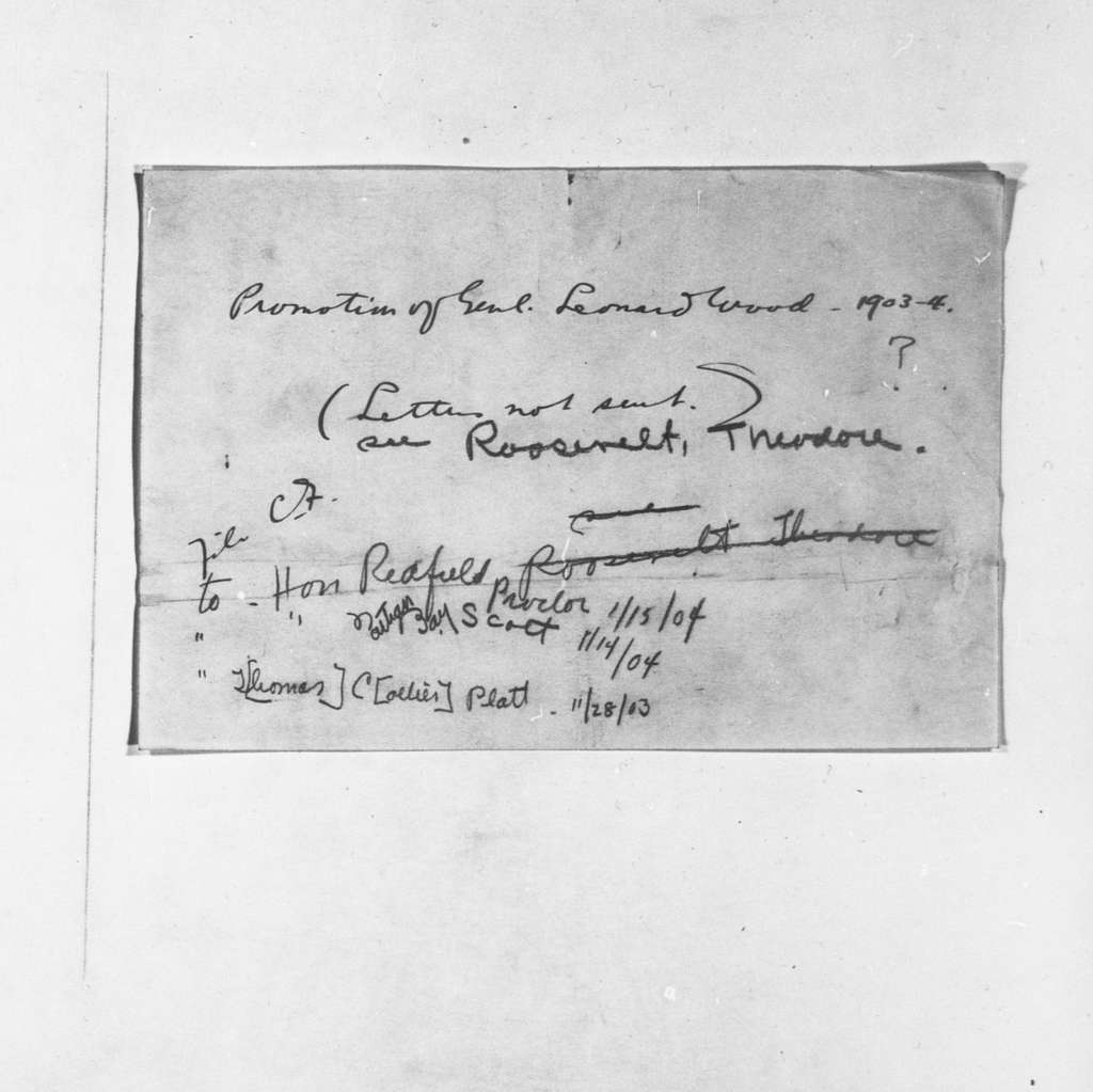 Theodore Roosevelt Papers: Series 13: Miscellany, 1881-1931; Subseries 13F: Cross References, 1901-1909; W-Z