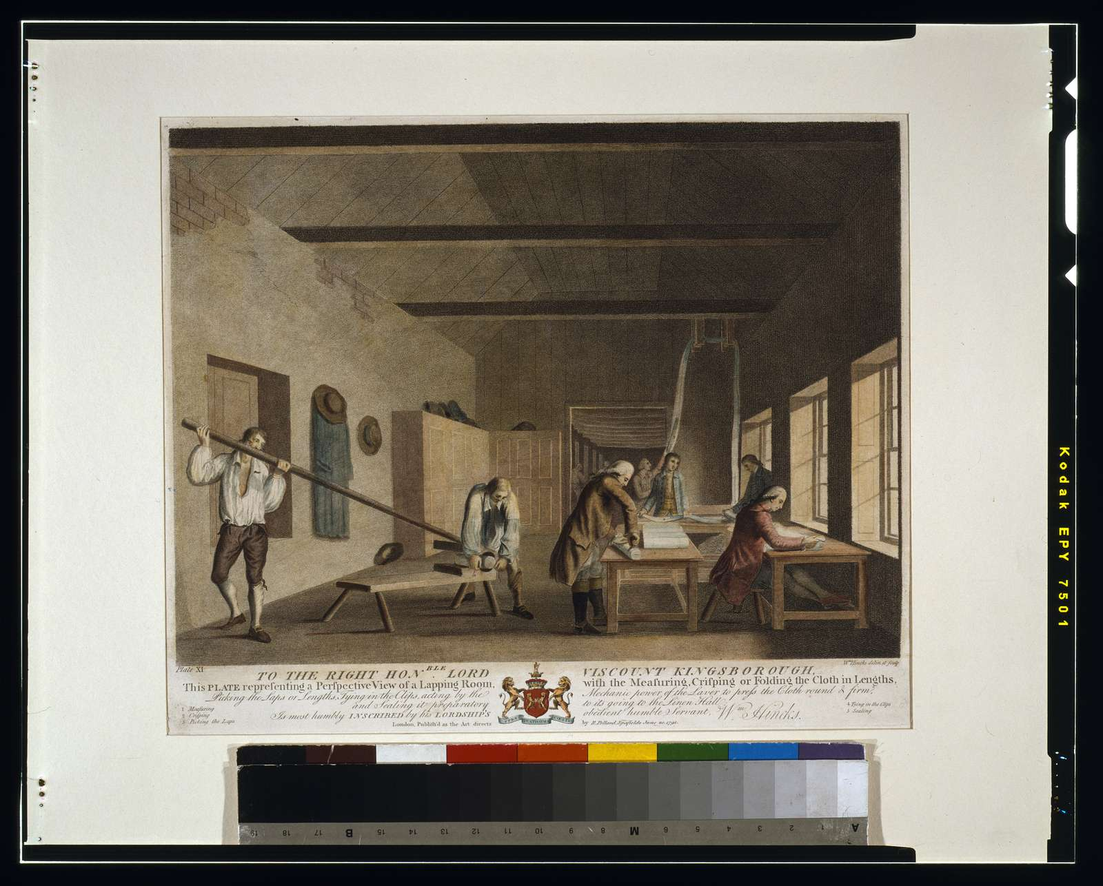To the right hon'able Lord Viscount Kingsborough, ... this plate representing a perspective view of a lapping room, with the measuring, crisping or folding the cloth in lengths, picking the laps or lengths, tying in the clips, acting by the mechanic power of the laver to press the cloth round & firm, and sealing it preparatory to its going to the Linen Hall; is ... inscribed by ... Wm. Hincks / Wm. Hincks, delin. et sculp.