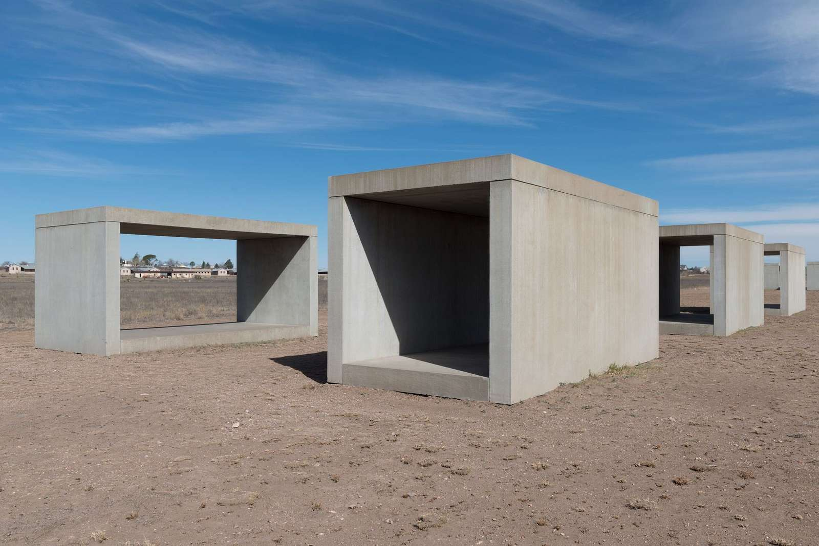 """Untitled box-like art, sometimes called """"Judd's cubes,"""" by """"Minimalist"""" artist Donald Judd, though he detested the """"minimalist"""" description, on the grounds of the Chinati Foundation, or La Fundacion Chinati, a contemporary art museum in Marfa, a surprisingly sophisticated town in the Texas high desert"""