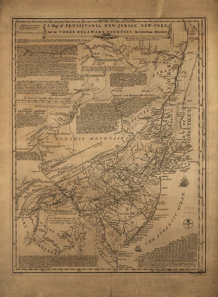 A map of Pensilvania, New-Jersey, New-York, and the three Delaware counties.
