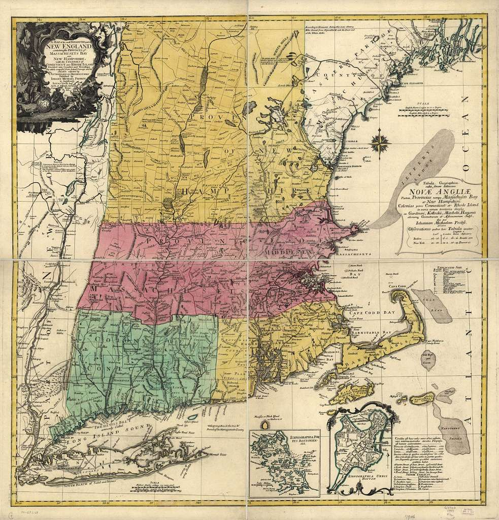 A map of the most inhabited part of New England, containing the provinces of Massachusets Bay and New Hampshire, with the colonies of Conecticut and Rhode Island, divided into counties and townships; the whole composed from actual surveys and its situation adjusted by astronomical observations. Tabula geographica cultis simam delineans Novæ Angliæ partem, provincias nempe Massachusets Bay et New Hampshire colonias porro Connecticut et Rhode Island