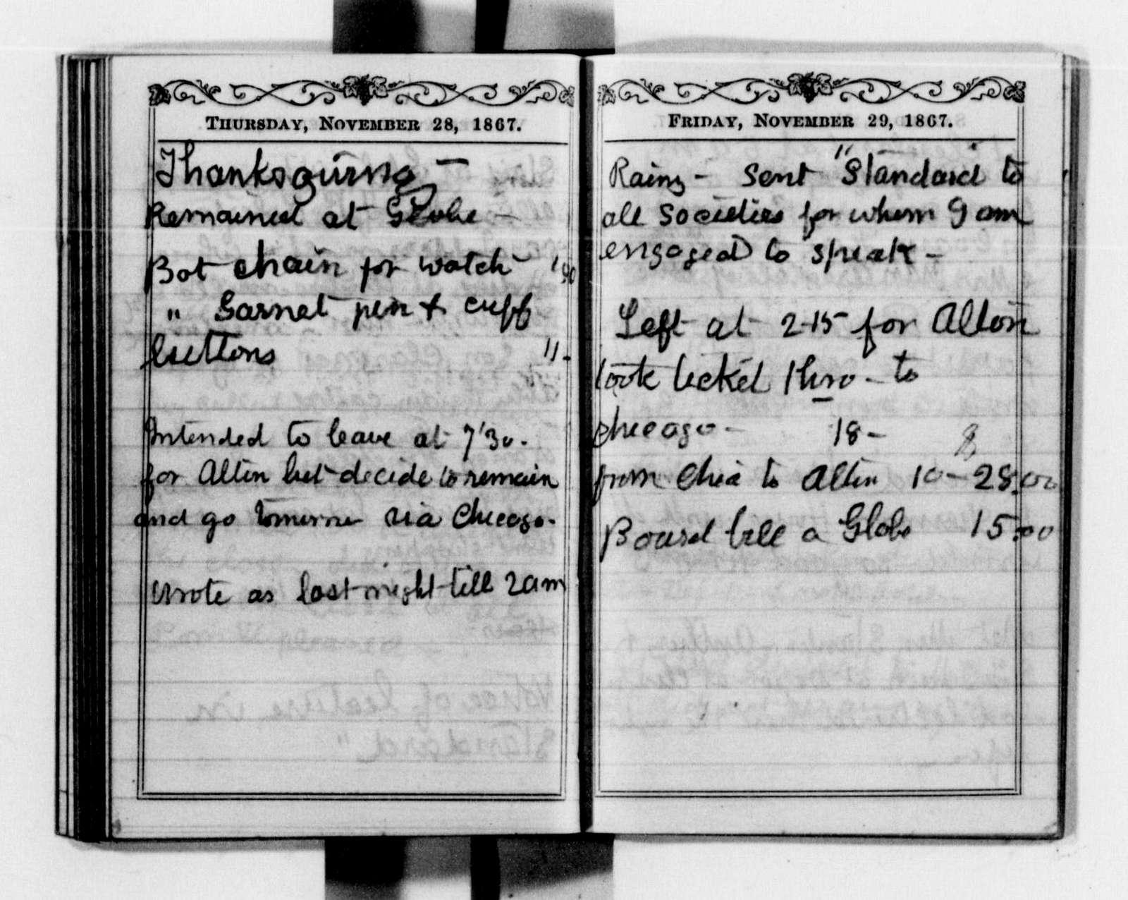 Clara Barton Papers: Diaries and Journals: 1867, Jan.-Dec.