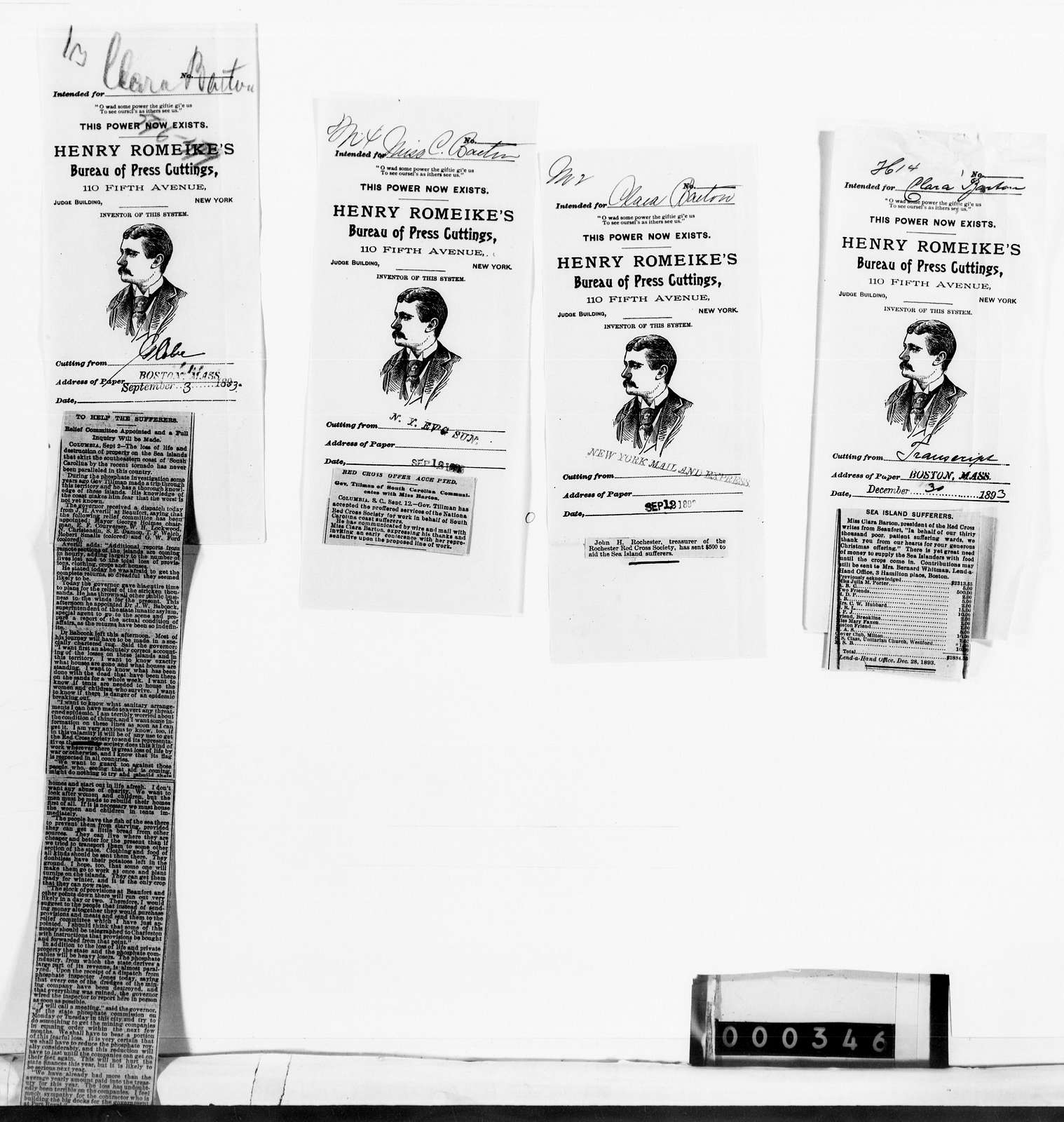 Clara Barton Papers: Red Cross File, 1863-1957; American National Red Cross, 1878-1957; Relief operations; Sea Islands, S.C.; Newspaper clippings, 1893-1894, undated
