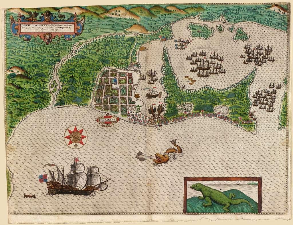 [Map and views illustrating Sir Francis Drake's West Indian voyage, 1585-6].