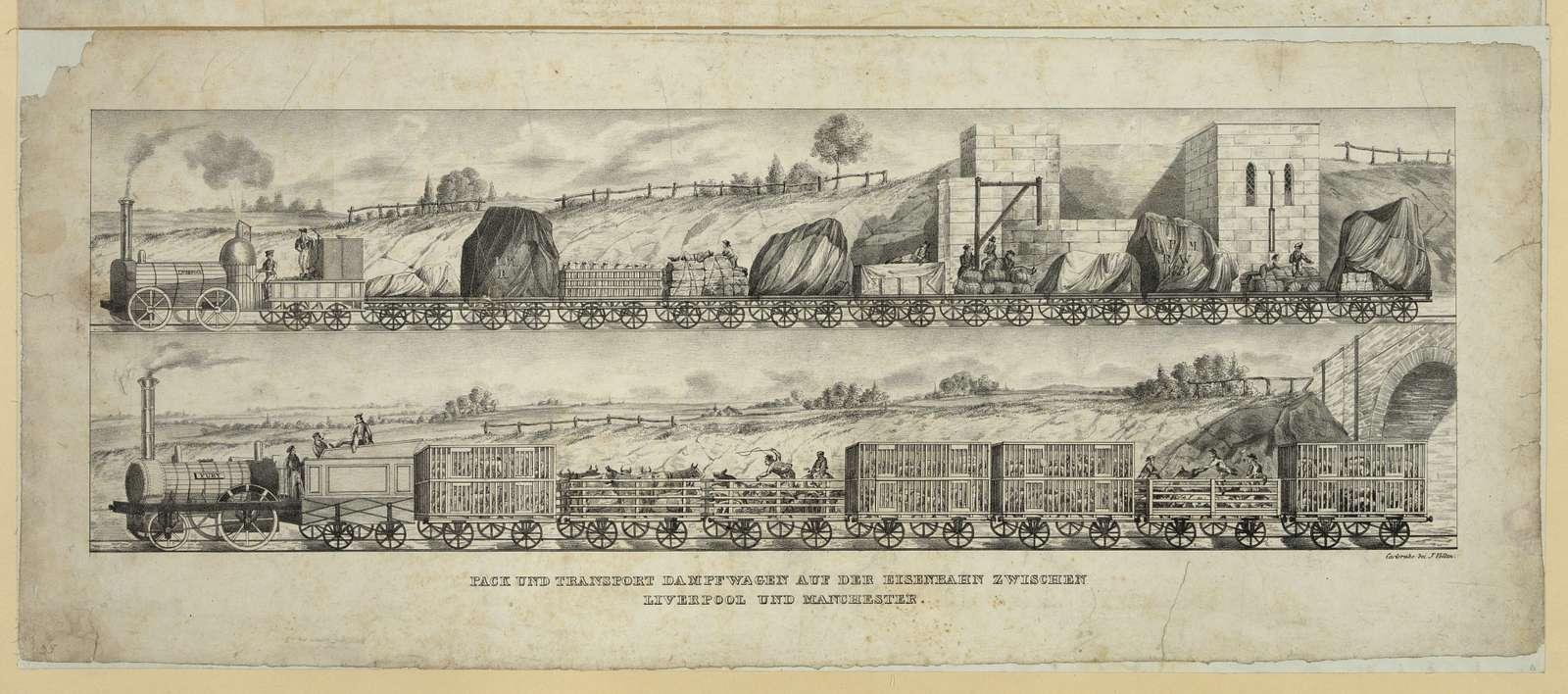 Pack und transport dampfwagen auf der eisenbahn zwischen Liverpool und Manchester / Carlsruhe bei J. Velten.