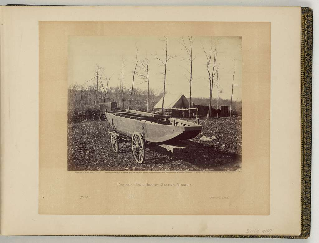Pontoon boat, Brandy Station, Virginia / negative by T.H. O'Sullivan, positive by A. Gardner.