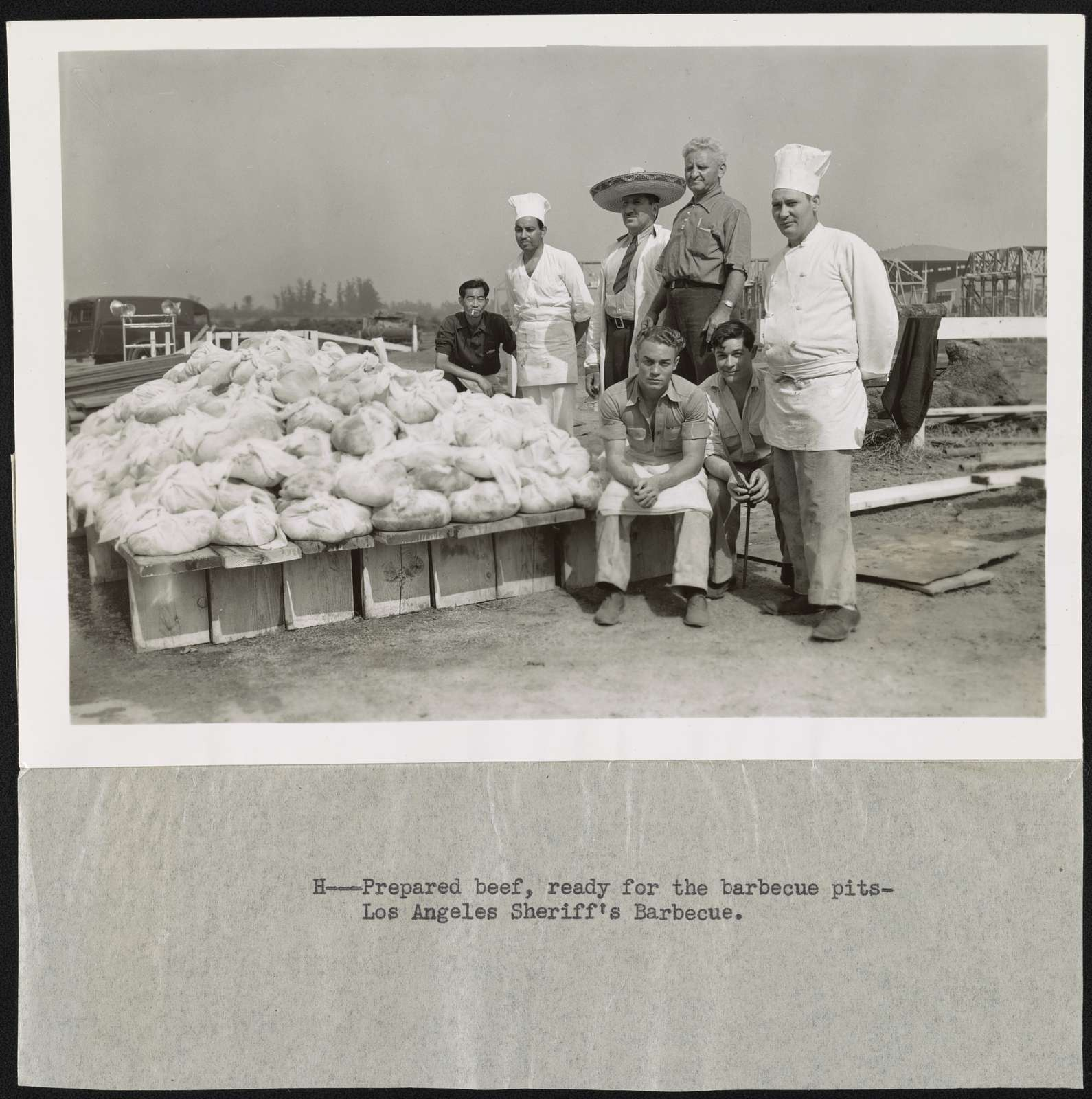 Prepared beef, ready for the barbecue pits - Los Angeles Sheriff's barbecue