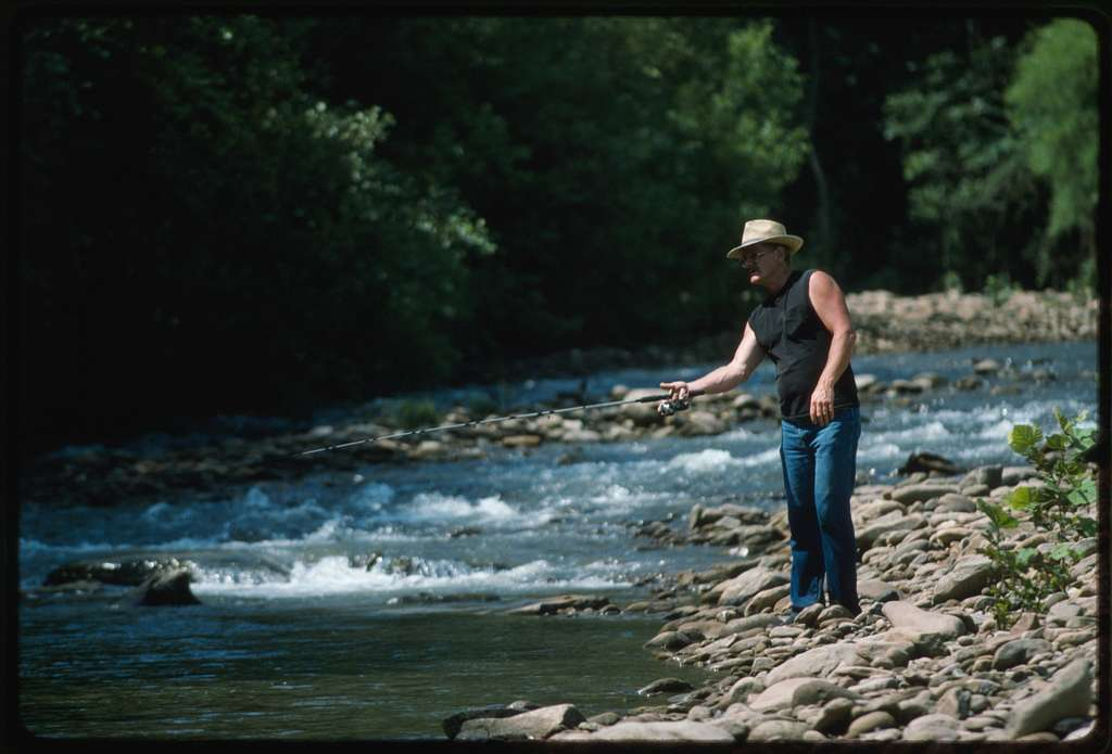 Randy Sprouse fishing in Coal River at the mouth of Hazy Creek