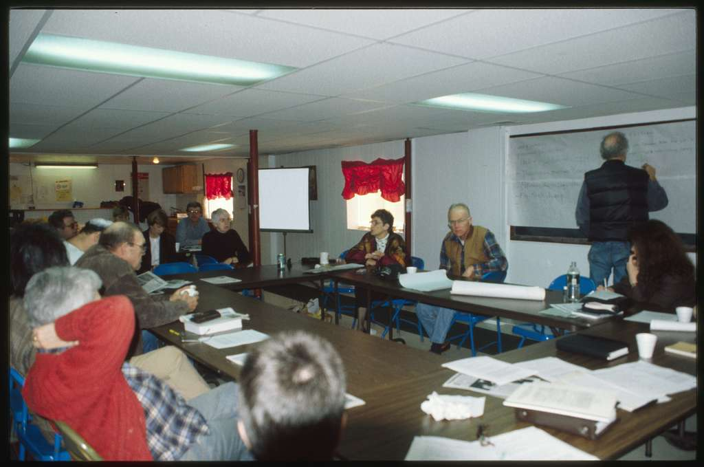 Residents brainstorming on goals for Coal River Mountain Watch; Lowell Dodge is writing at the board