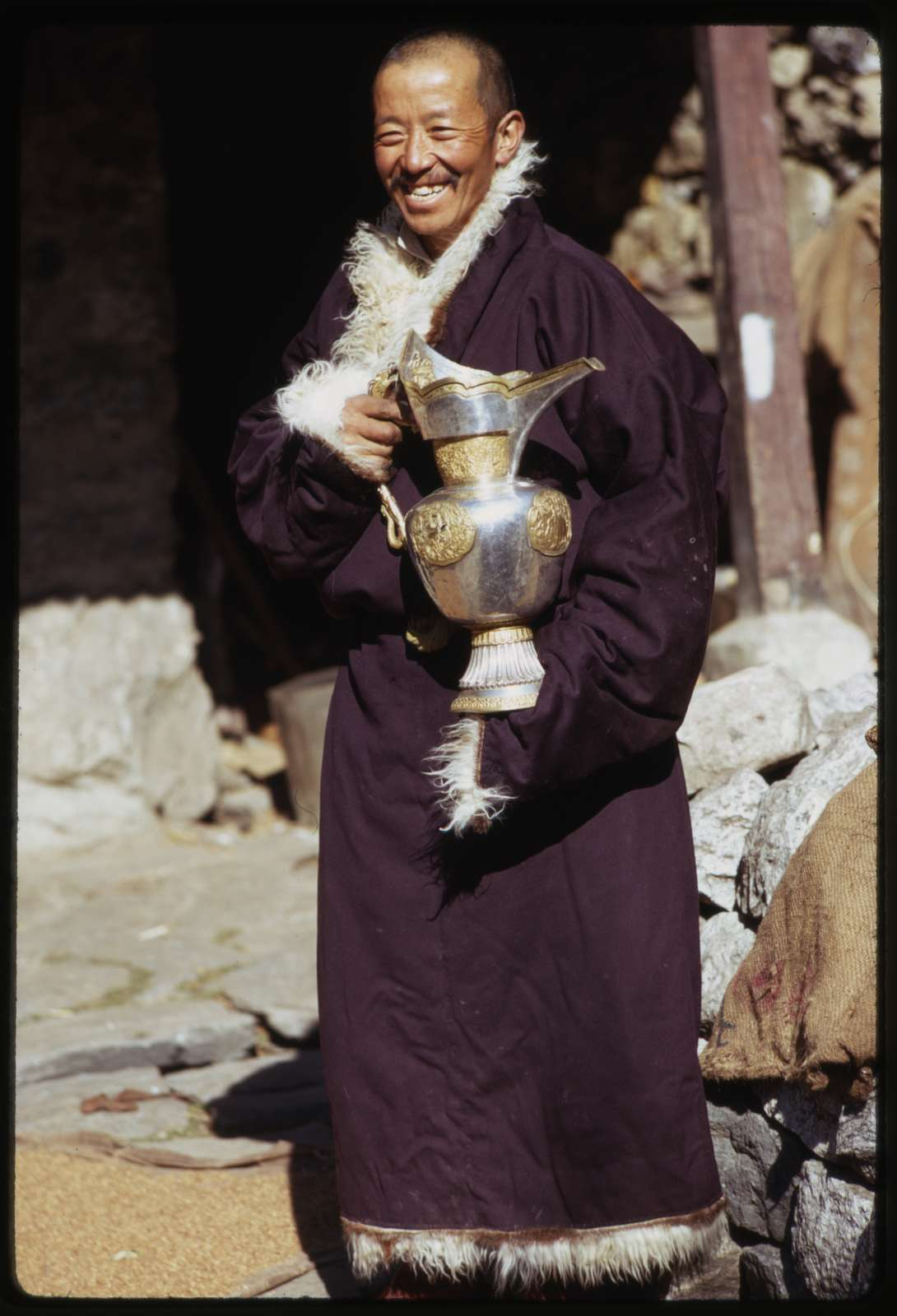 Rinchen Lama with silver pitcher, Lachung