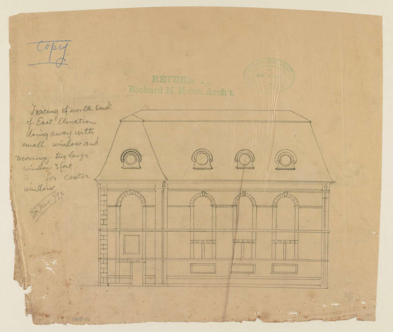 [Stable for Oliver Belmont Esq., Newport, R.I. North end of east elevation] / R.H.