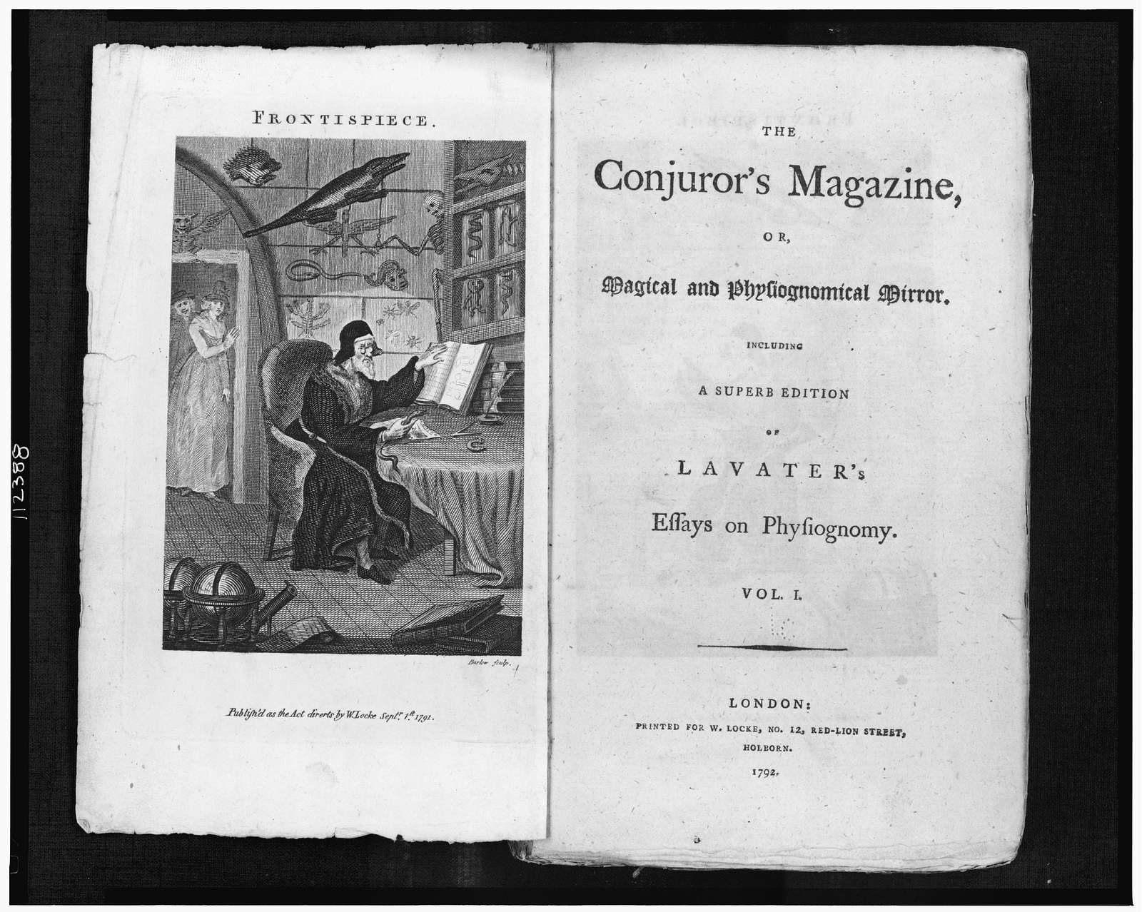 "[""The  conjurer's magazine"" title page and frontispiece with illustration of magician]"