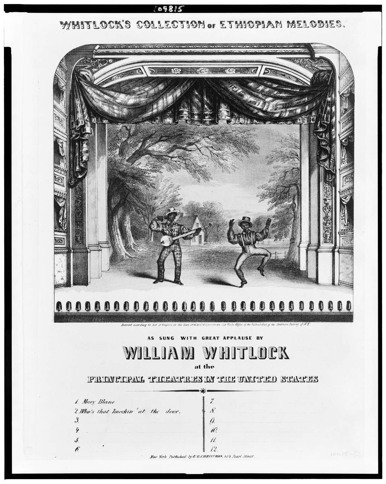 Whitlock's collection of Ethiopian melodies. As sung with great applause by William Whitlock at the principal theatres in the United States