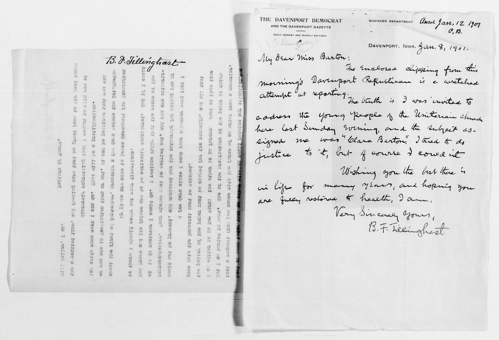 Clara Barton Papers: General Correspondence, 1838-1912; Tillinghast, B. F. and Nellie N., 1890-1904