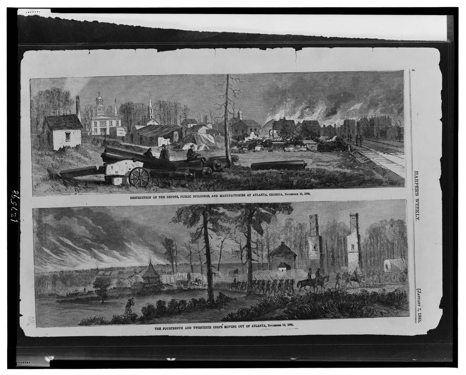 Destruction of the depots, public buildings, and manufactories at Atlanta, Georgia, November 15, 1864 The Fourteenth and Twentieth Corps moving out of Atlanta, November 15, 1864.