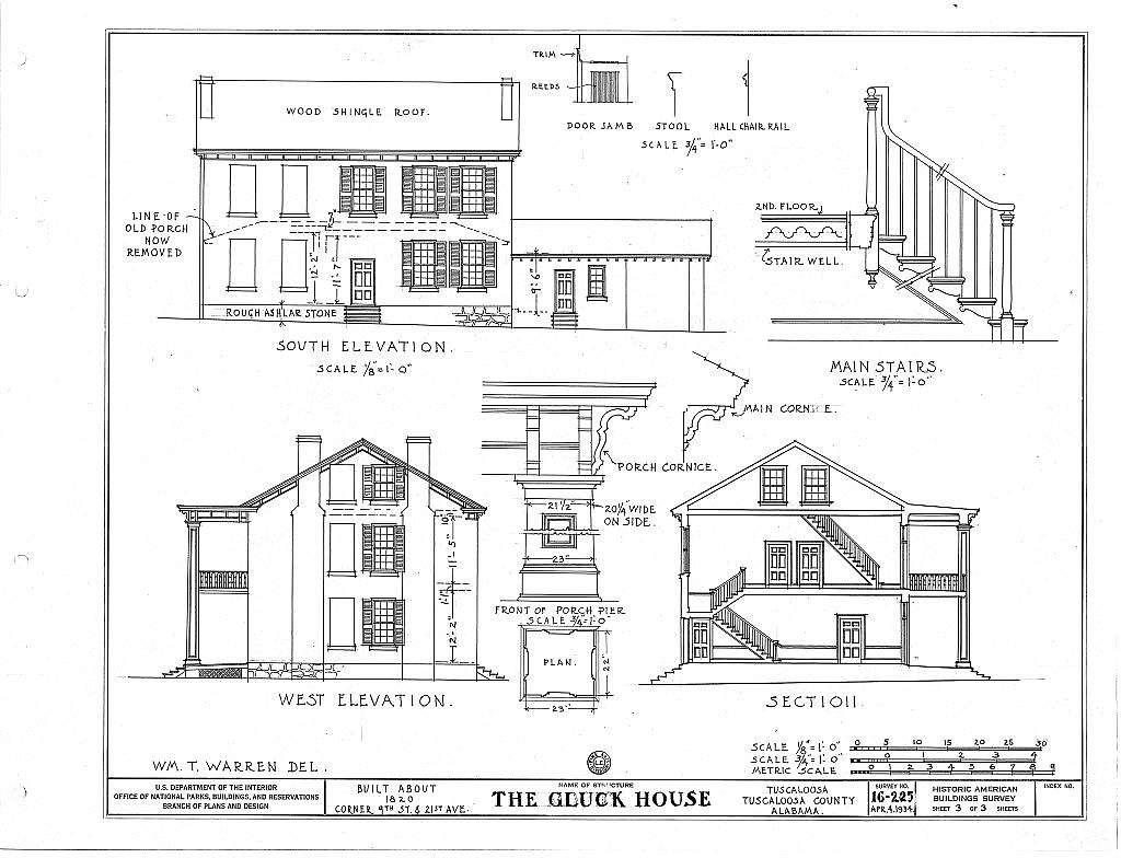 Gluck House, 2021 Seventh Street, Tuscaloosa, Tuscaloosa County, AL