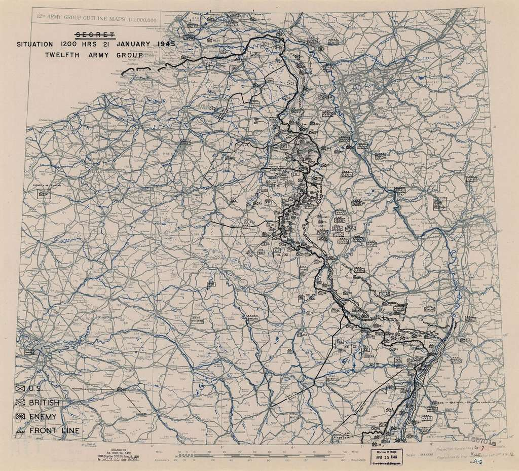 [January 21, 1945], HQ Twelfth Army Group situation map.
