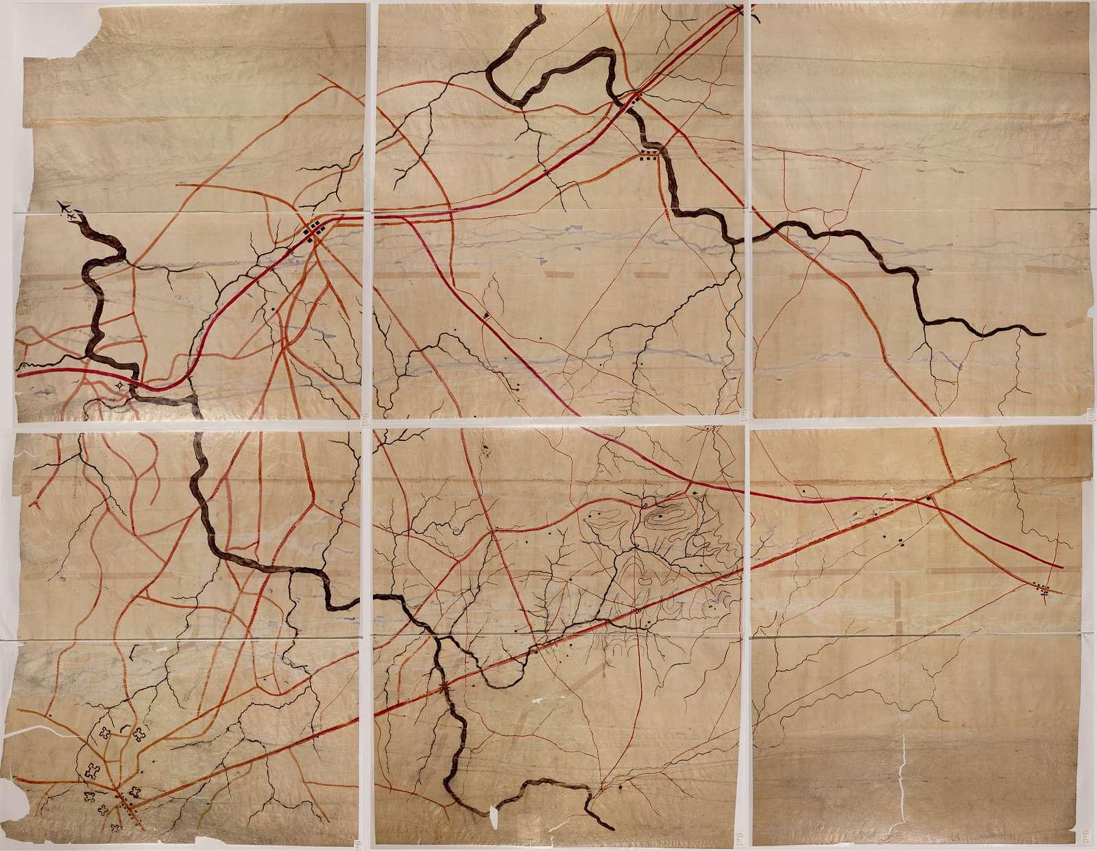 [Map of the Manassas battlefield area in Northern Virginia].