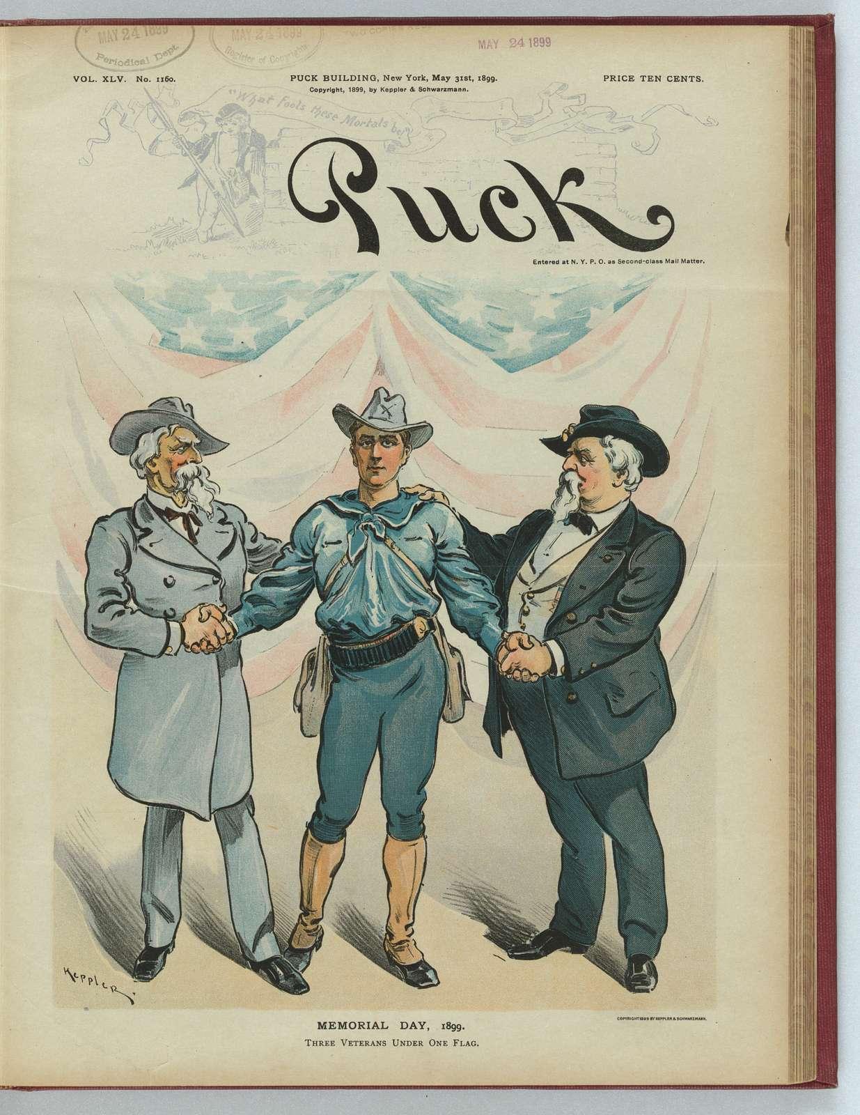 Memorial Day, 1899 - three veterans under one flag / Keppler.