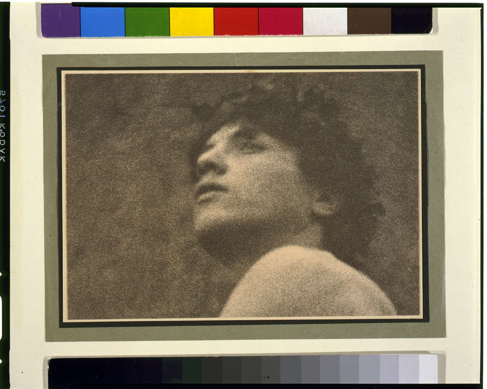 [Nude youth with laurel wreath, face and shoulder]