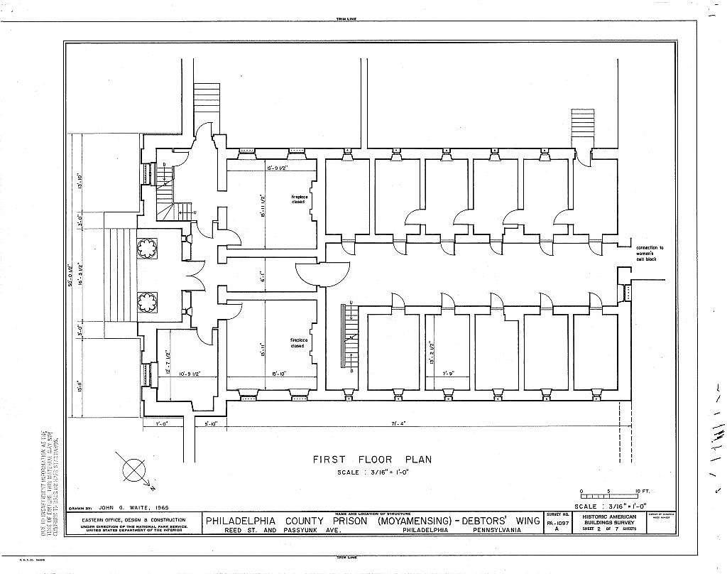 Philadelphia County Prison, Debtors' Wing, Reed Street & Passyunk Avenue, Philadelphia, Philadelphia County, PA