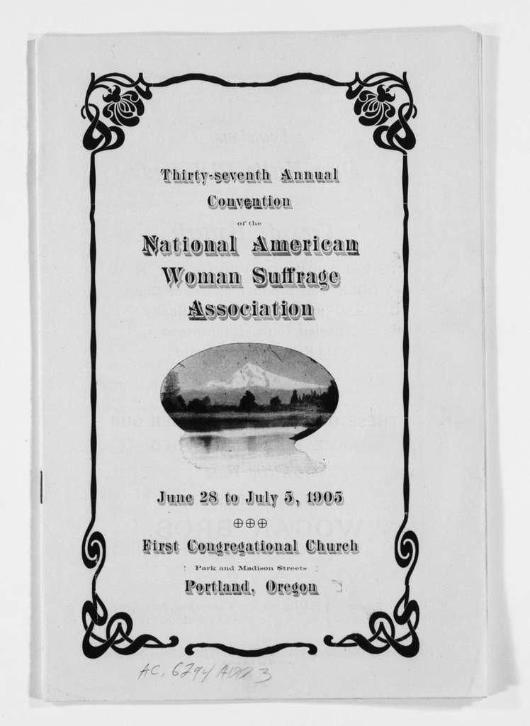 Susan B. Anthony Papers: Scrapbooks, 1876-1934; National American Woman Suffrage Association Convention programs, 1905-1906