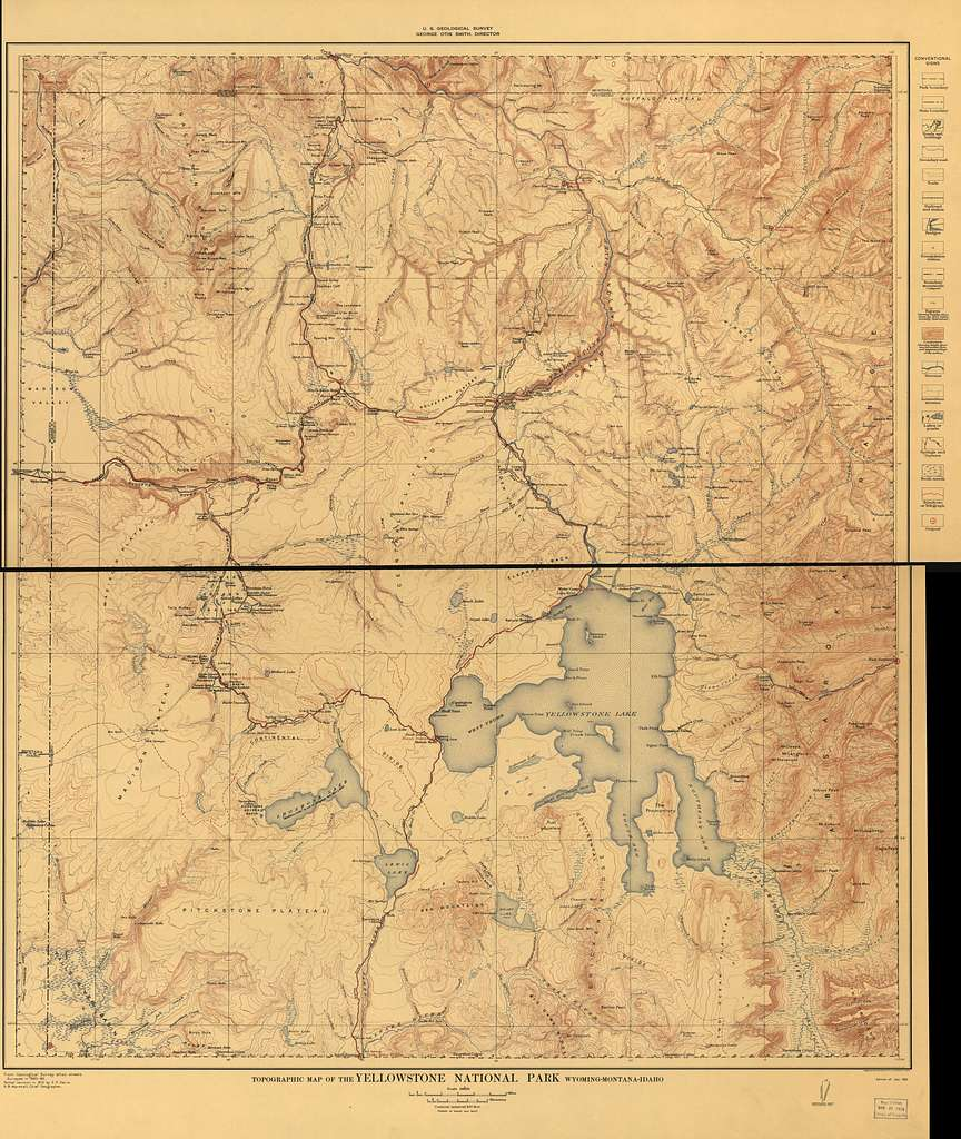 Topographical Map Of The Yellowstone National Park Wyoming