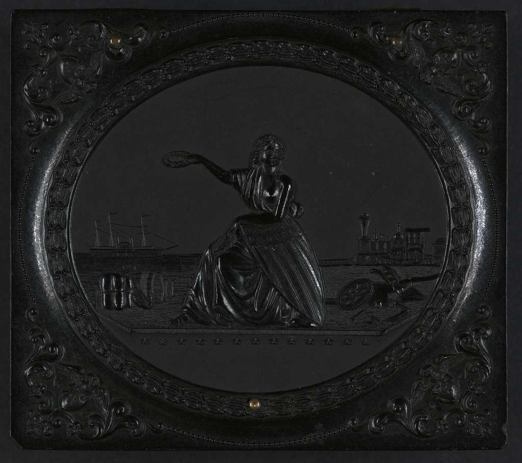 [Union case for daguerreotype, ambrotype, or tintype showing a woman holding a laurel wreath between a ship and a train]