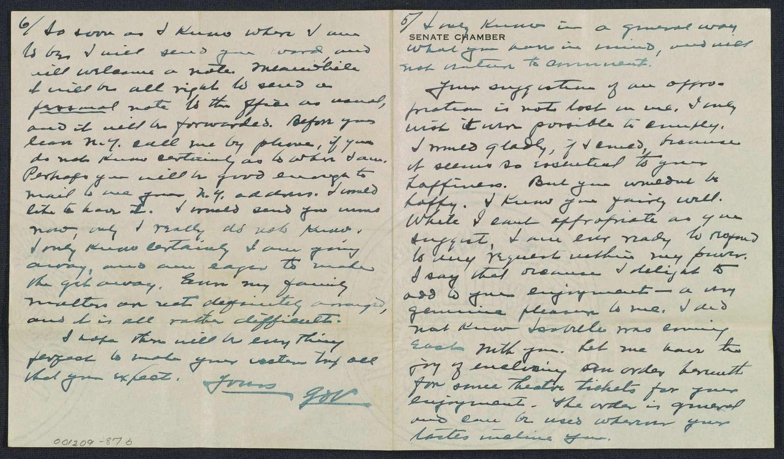 Warren G. Harding-Carrie Fulton Phillips Correspondence: Correspondence and drafts of correspondence; 1919