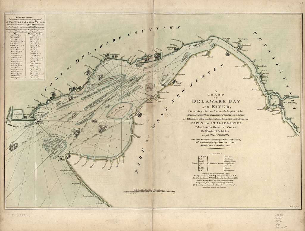 A chart of Delaware Bay and River : containing a full and exact description of the shores, creeks, harbours, soundings, shoals, sands, and bearings of the most considerable land marks, from the capes to Philadelphia /