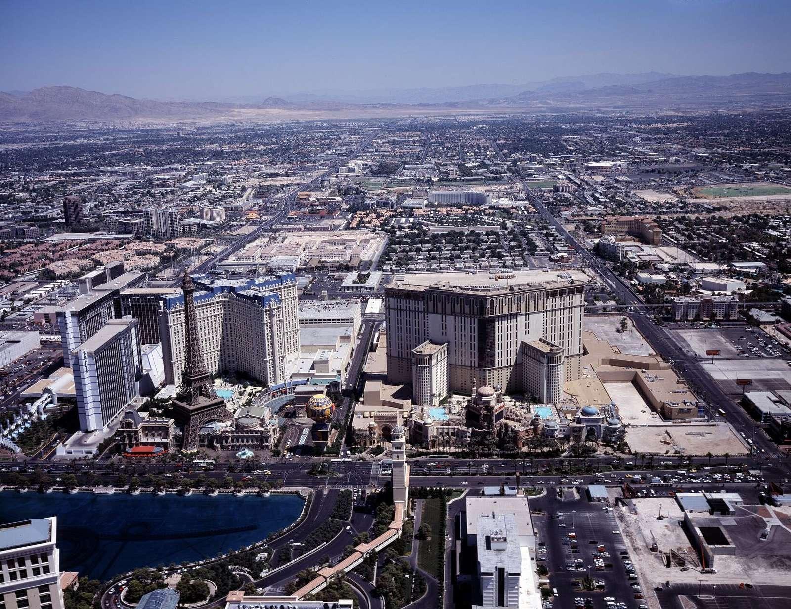 Aerial view of Las Vegas, Nevada, with a focus on Las Vegas Strip casinos, including the Paris Las Vegas's half-scale replica of the Eiffel Tower