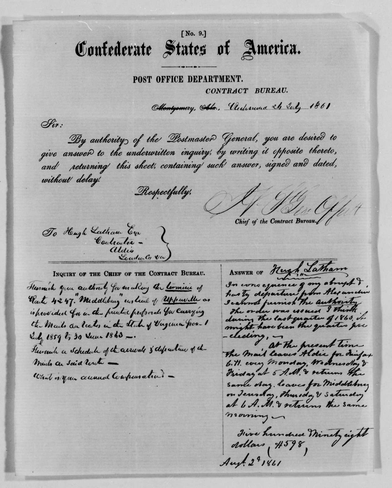 Confederate States of America records: Microfilm Reel 60