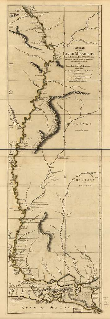 Course of the river Mississipi from the Balise to Fort Chartres; taken on an expedition to the Illinois, in the latter end of the year 1765.