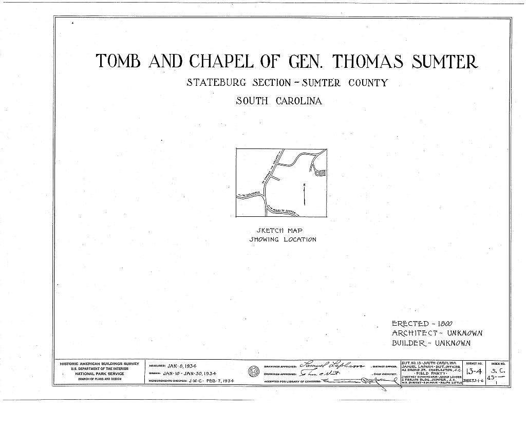 Gen. Thomas Sumter Tomb, Stateburg, Sumter County, SC