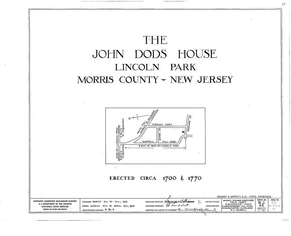 John Dods House, Highland Street, Lincoln Park, Morris County, NJ