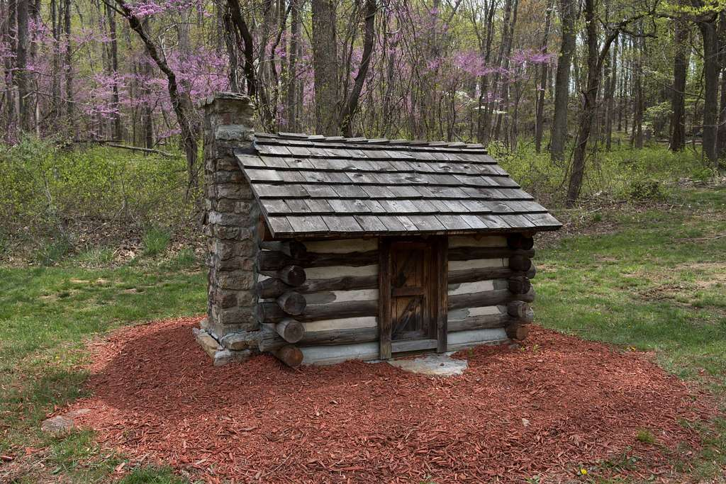 Model of a cabin at Cacapon Resort State Park, near Berkeley Springs in Morgan County, West Virginia