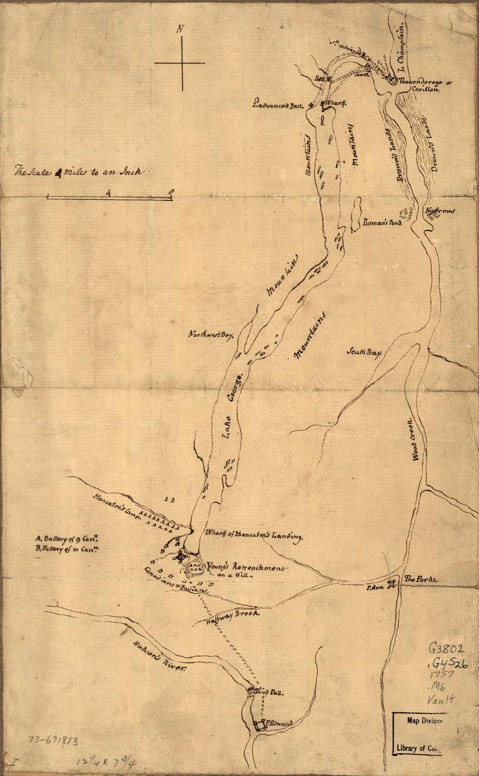 Plan of the attack on Fort William Henry and Ticonderoga; showing the road from Fort Edward, Montcalm's camp and wharf of landing, &c.