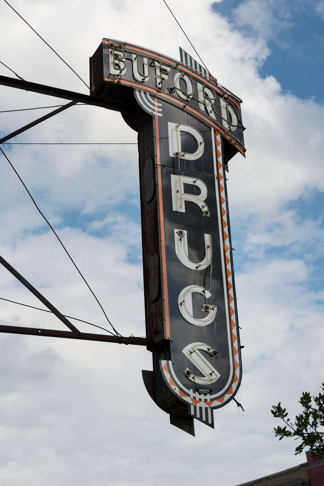Vintage marquee for Buford Drug Store in Terrell, Texas, east of Dallas
