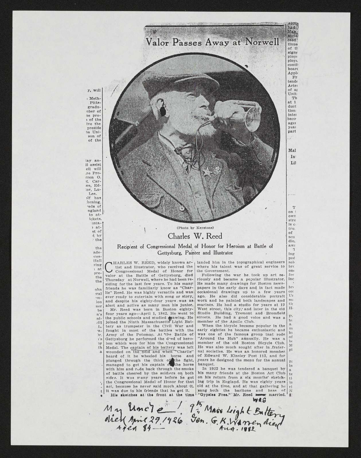 Charles Wellington Reed Papers: Clippings,  1863-1926, undated
