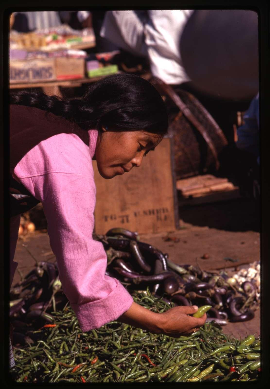 Chiles & eggplant on sale at Gangtok Bazaar, Sikkim