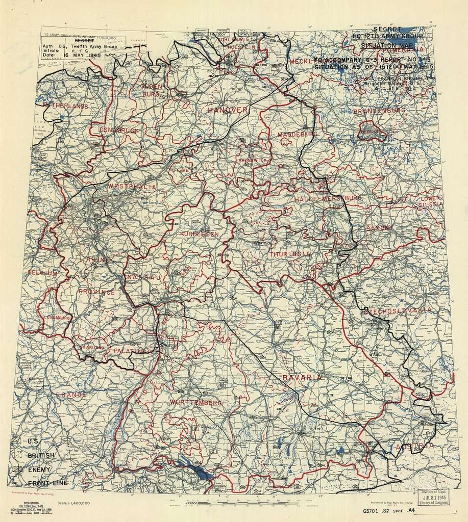 [May 16, 1945], HQ Twelfth Army Group situation map.