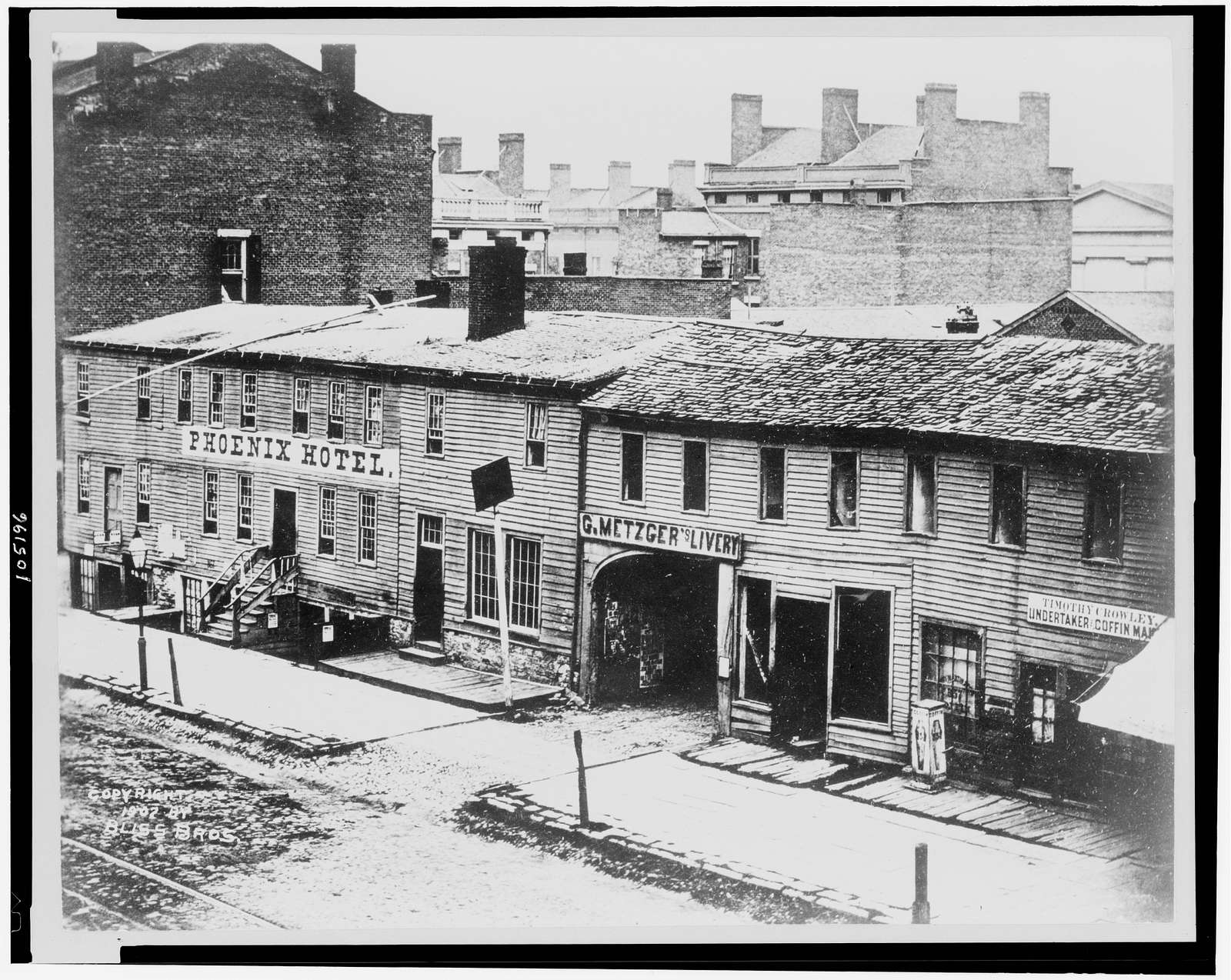[Phoenix Hotel, G. Metzger's Livery, and Timothy Crowley, undertaker and coffin maker, Buffalo, New York]