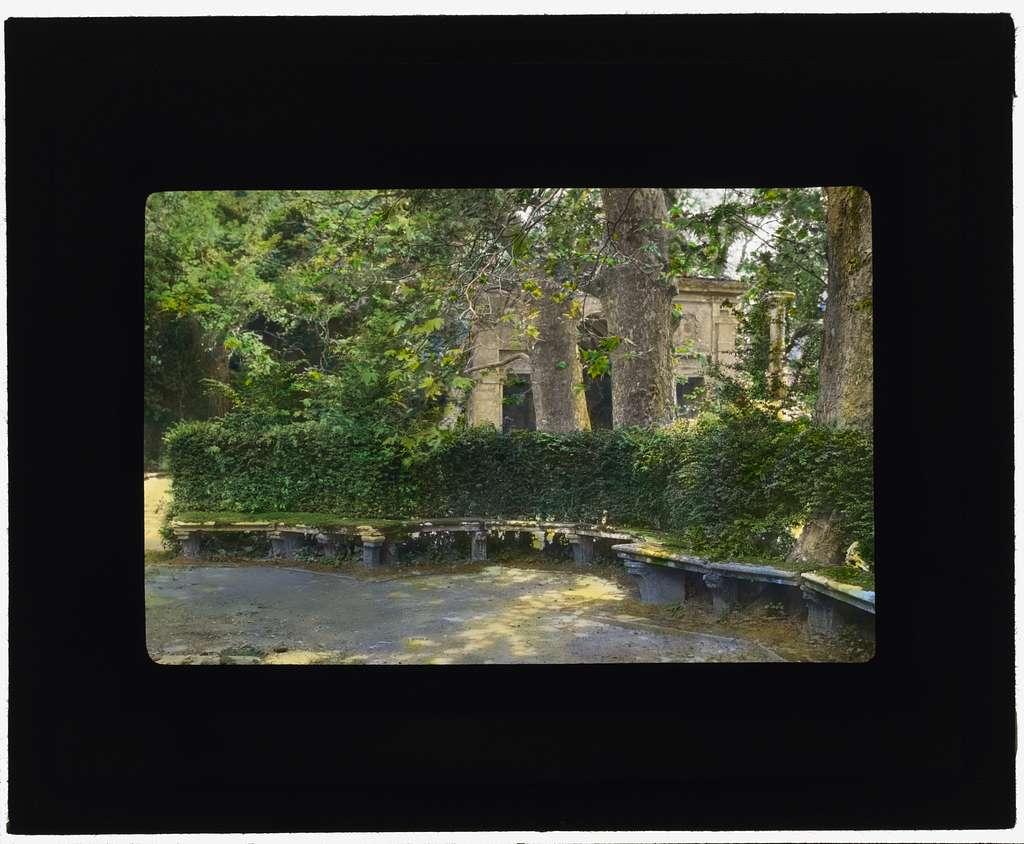 [Villa Lante, Bagnaia, Lazio, Italy. Bench at Fountain of the Dolphins]