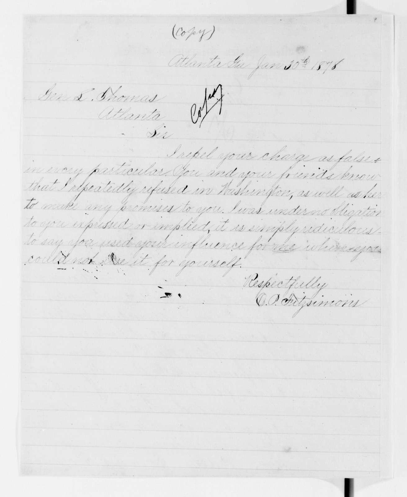 Alexander Hamilton Stephens Papers: General Correspondence, 1784-1886; 1877, Oct. 5-1878, June 10