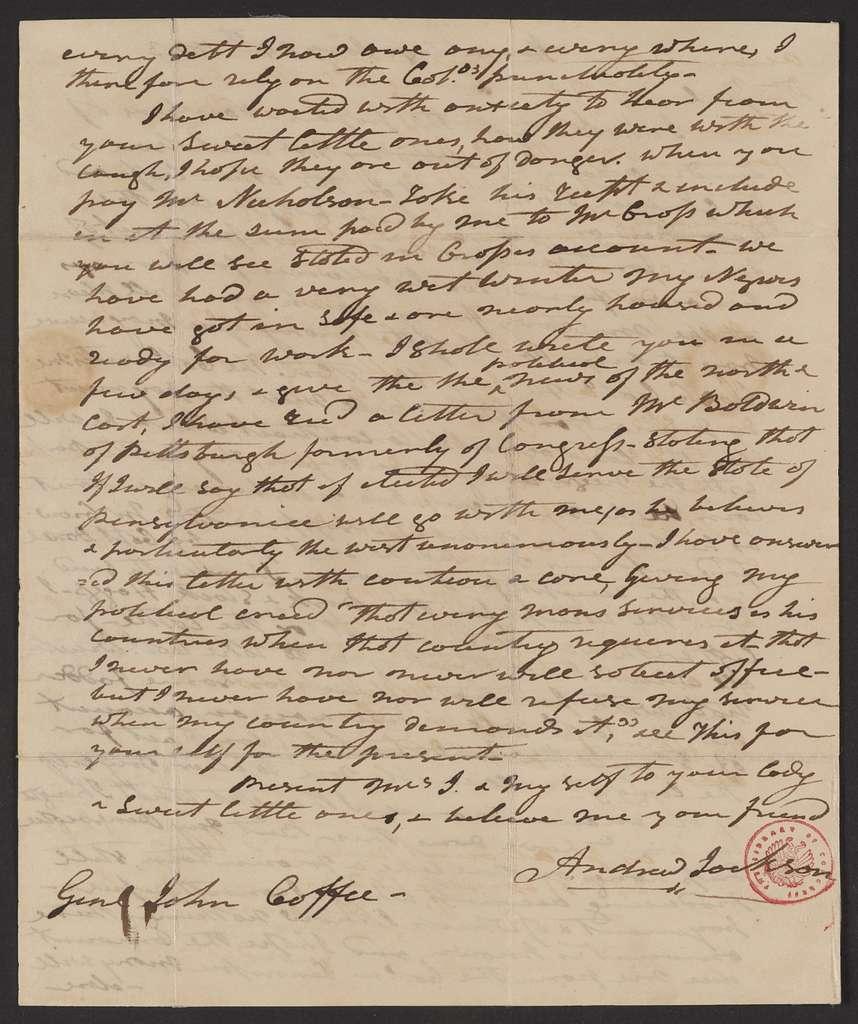 Andrew Jackson to John Coffee, January 24, 1823