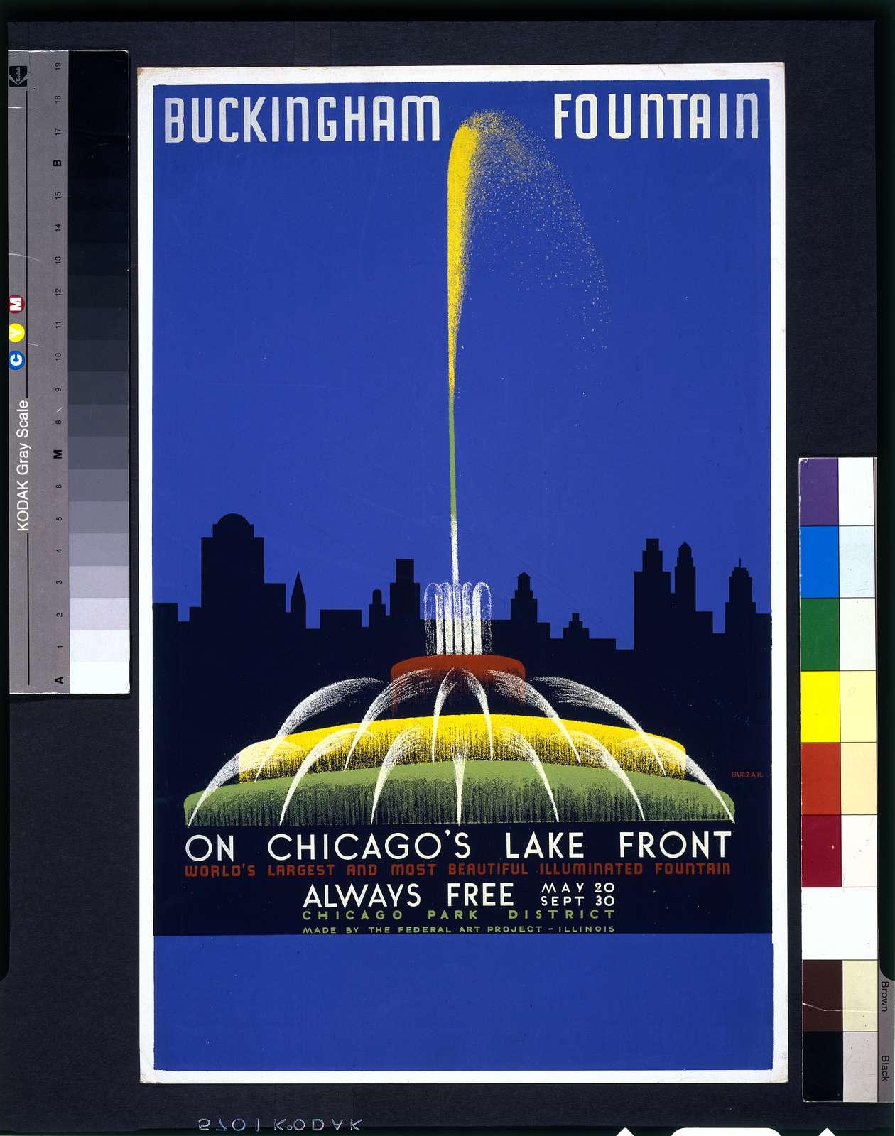 Buckingham Fountain on Chicago's lake front, world's largest and most beautiful illuminated fountain ... / Buczak.
