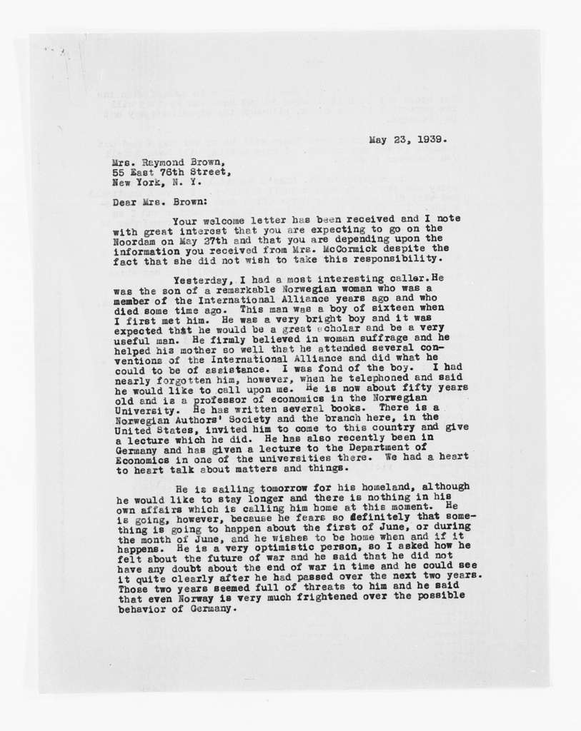 Carrie Chapman Catt Papers: General Correspondence, circa 1890-1947; Brown, Gertrude F