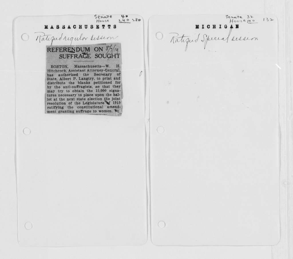 Carrie Chapman Catt Papers: Miscellany; General