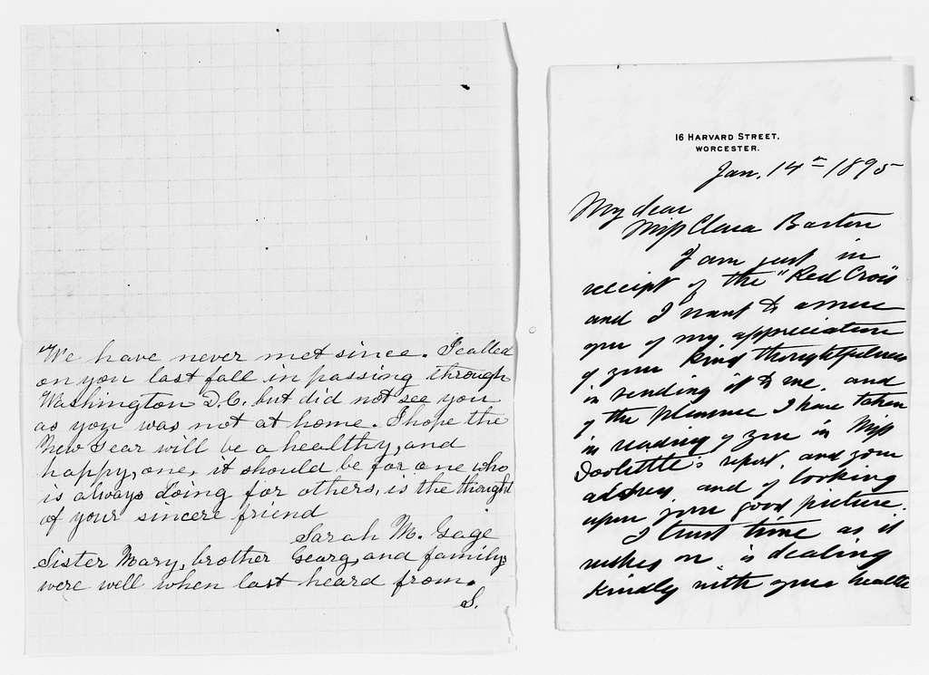 Clara Barton Papers: Miscellany, 1856-1957; Holiday greetings and enclosures, acknowledgments, 1892-1894