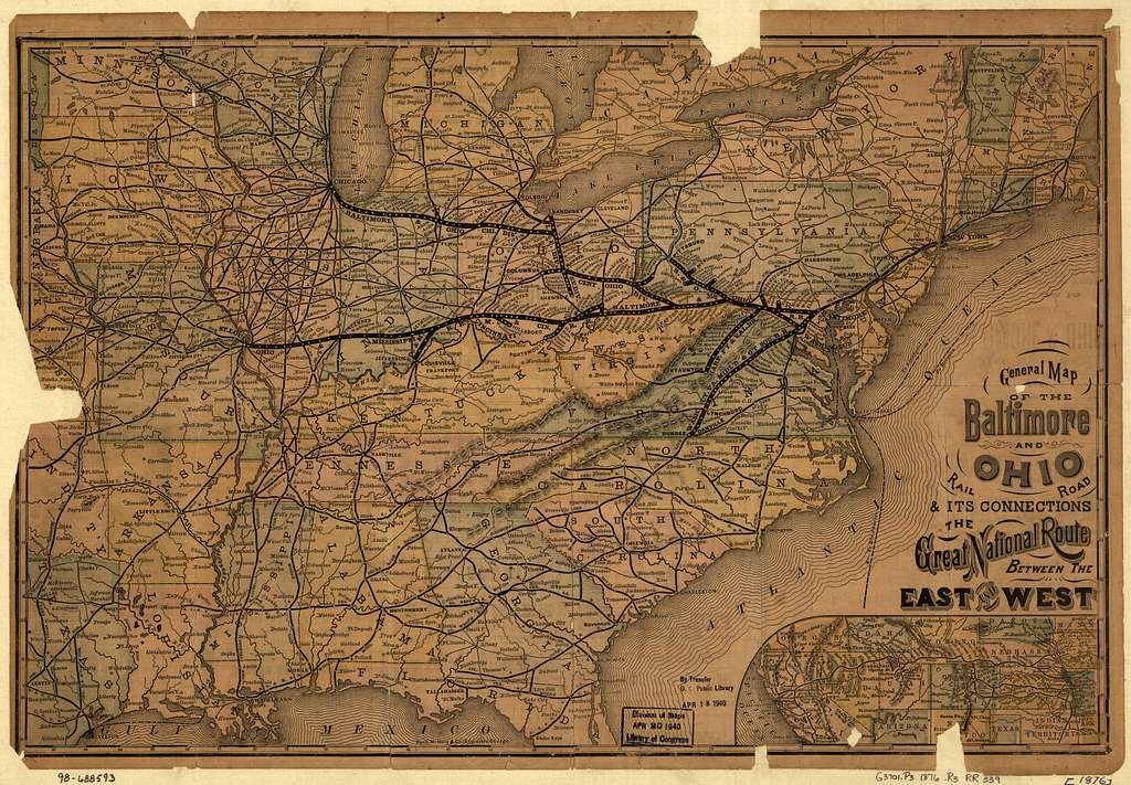 General map of the Baltimore and Ohio Rail Road & its connections; the great national route between the east and west.